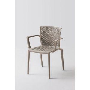 Plastová Židle s područkou spiker Šedohnědá